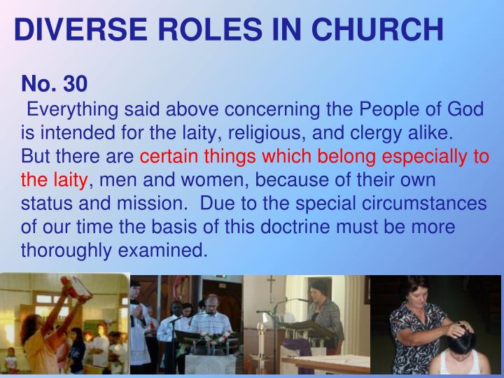 DIVERSE ROLES IN CHURCH