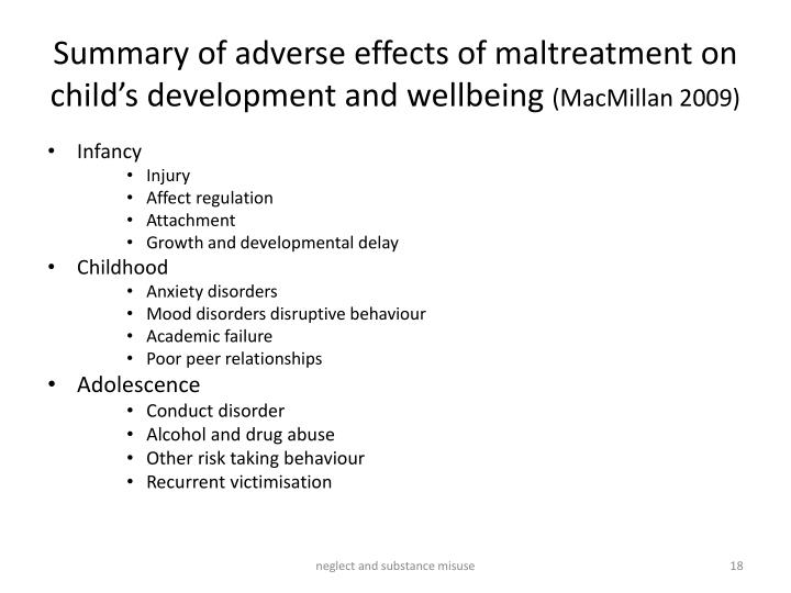 Summary of adverse effects of maltreatment on child's development and wellbeing