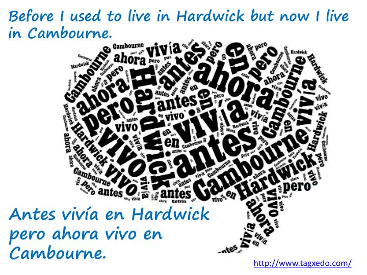 Before I used to live in Hardwick but now I live in