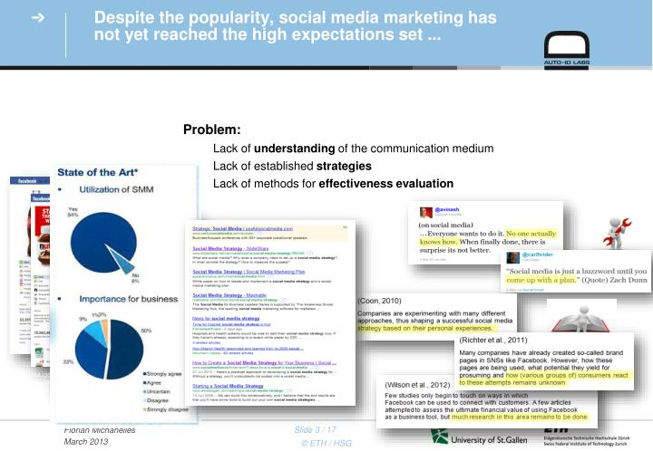 Despite the popularity social media marketing has not yet reached the high expectations set
