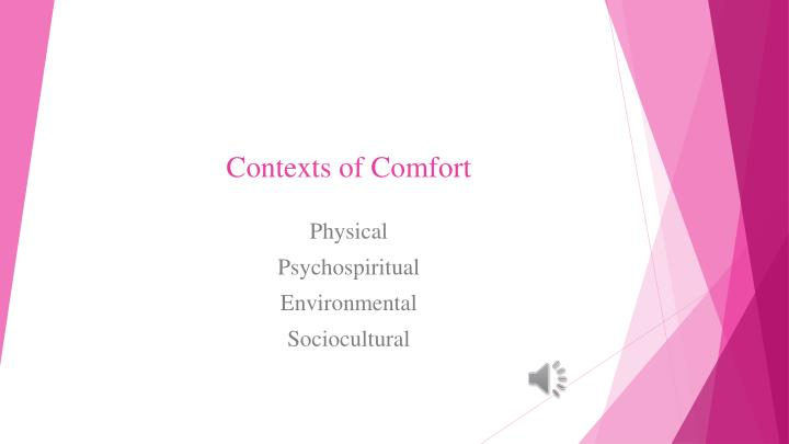 Contexts of Comfort