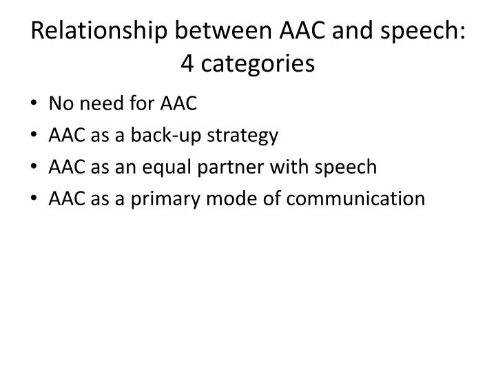 Relationship between AAC and speech:  4 categories