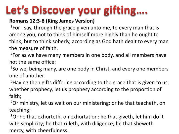 Let's Discover your gifting….