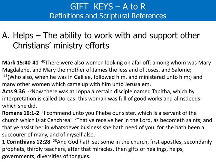 GIFT  KEYS – A to R