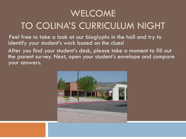 Welcome to colina s curriculum night