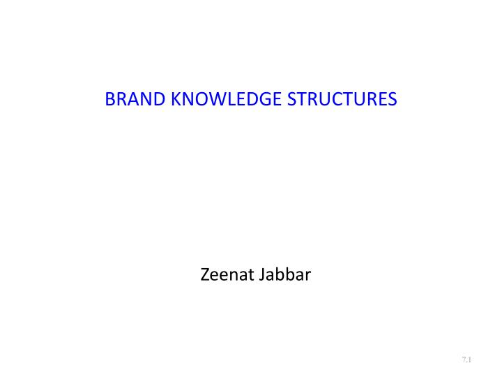 brand knowledge structures n.