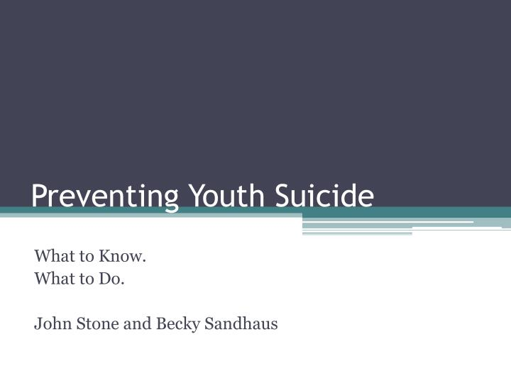 preventing youth suicide n.