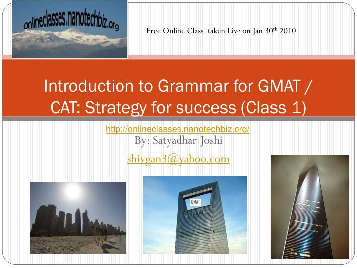 introduction to grammar for gmat cat strategy for success class 1 n.