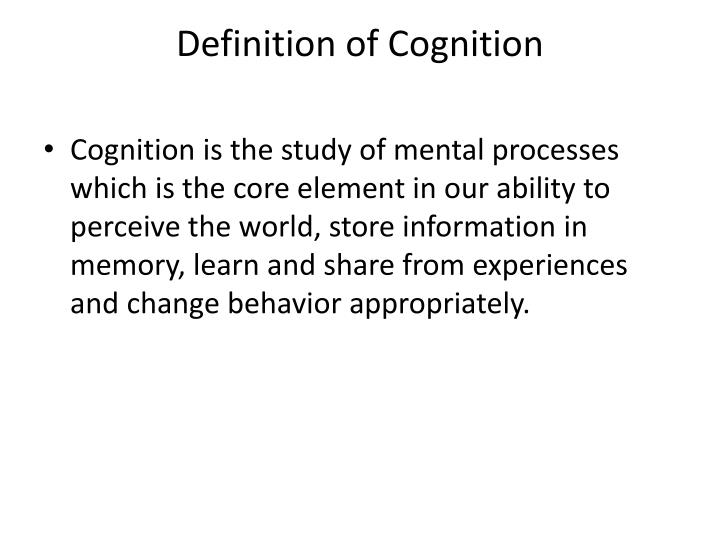 Definition of Cognition