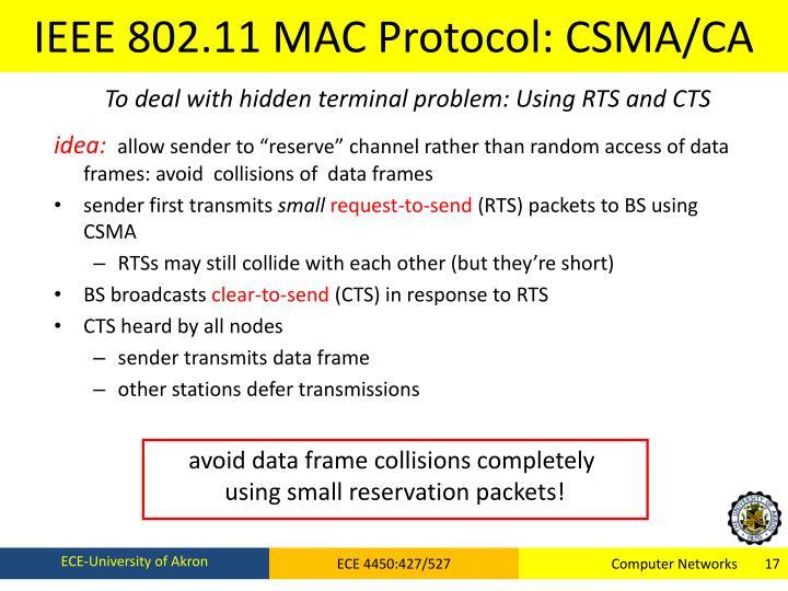IEEE 802.11 MAC Protocol: CSMA/CA