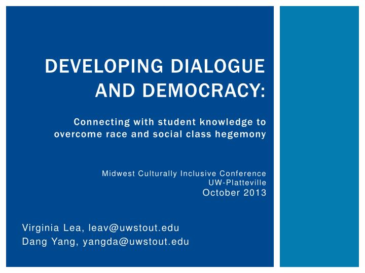 developing dialogue and democracy n.