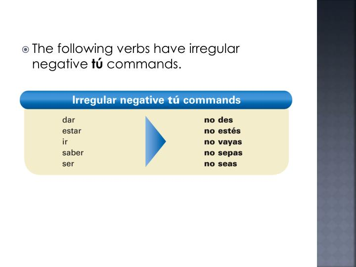 The following verbs have irregular negative