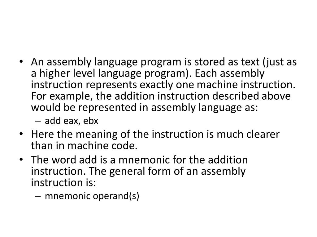 PPT - Elements of Assembly Language PowerPoint Presentation