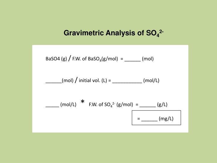 Gravimetric Analysis of SO