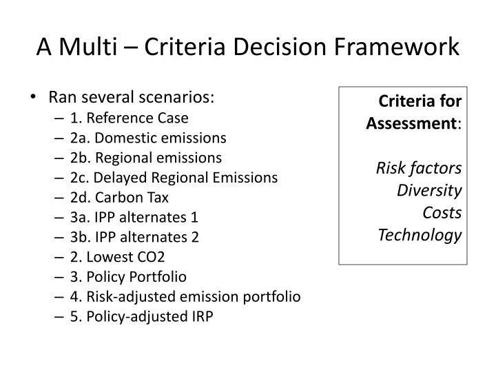 A Multi – Criteria Decision Framework