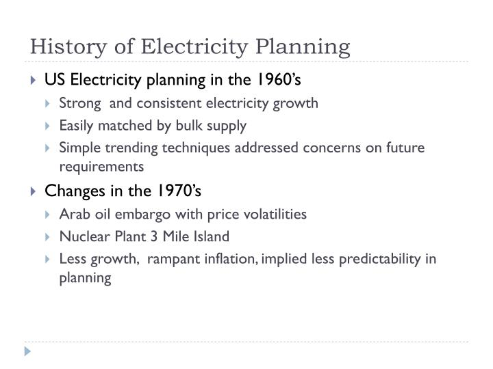 History of Electricity Planning