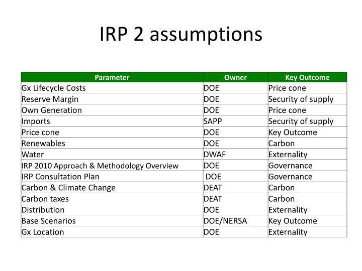 IRP 2 assumptions