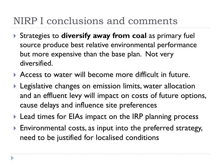 NIRP I conclusions and comments