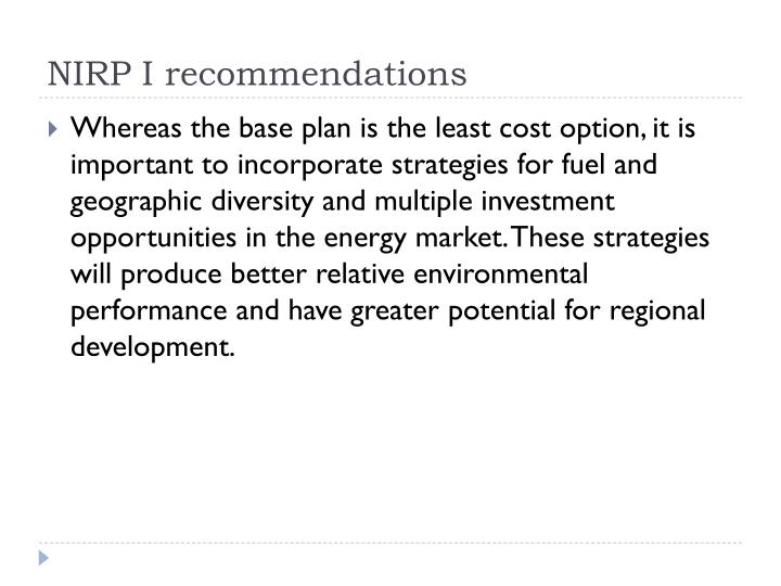 NIRP I recommendations