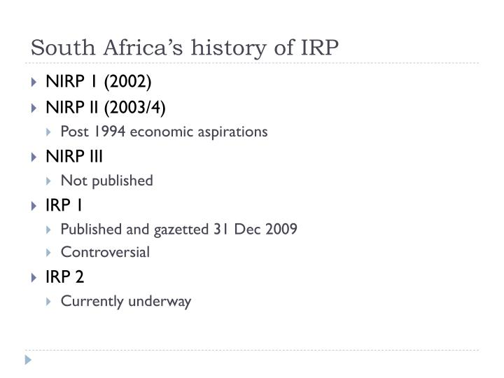 South Africa's history of IRP