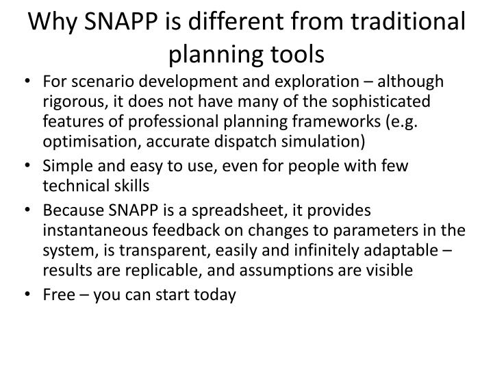 Why SNAPP is different from traditional planning tools