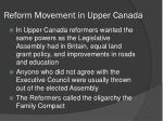 reform movement in upper canada