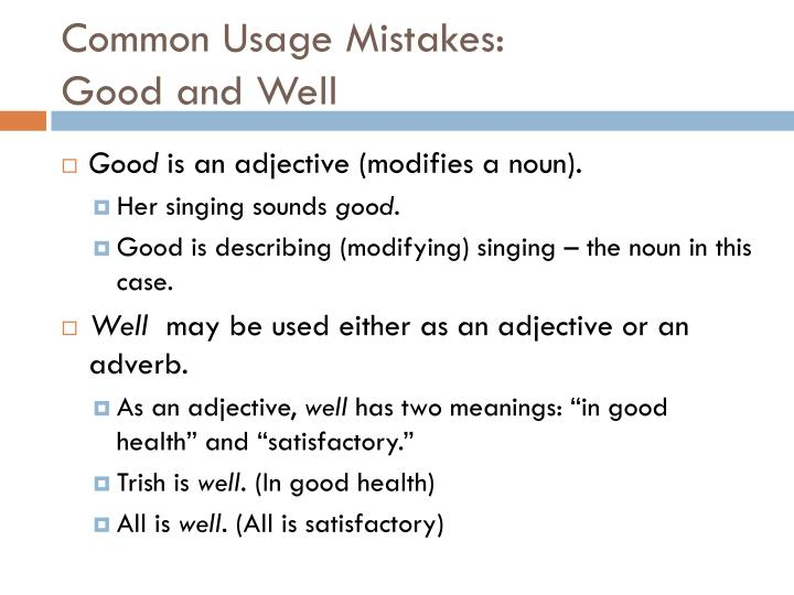 Common Usage Mistakes: