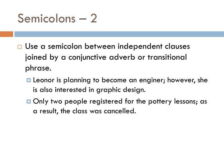 Semicolons – 2