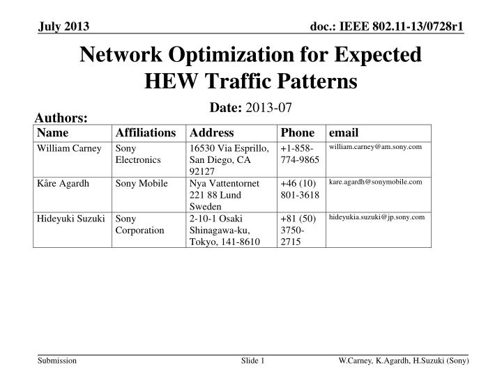 network optimization for expected hew t raffic p atterns n.