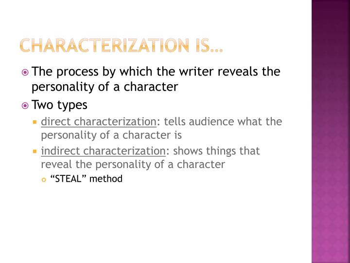 types of indirect characterization