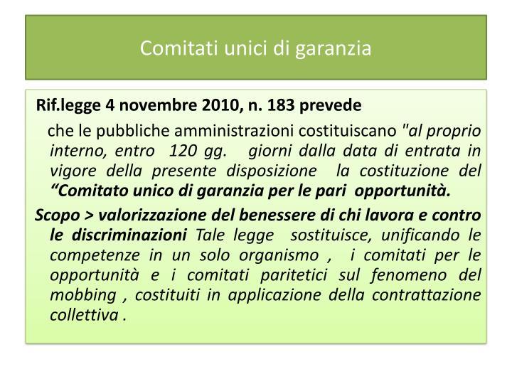 Comitati unici di garanzia