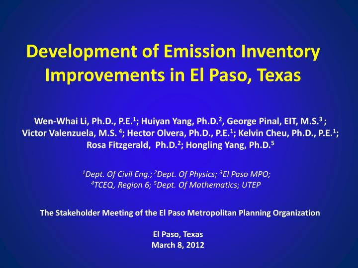 development of emission inventory improvements in el paso texas n.