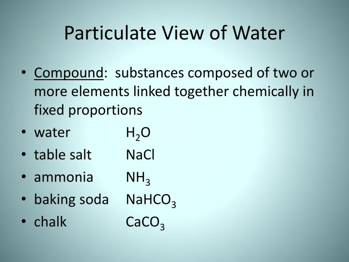 Particulate View of Water