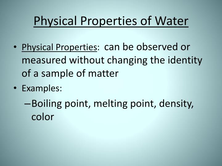Physical properties of water1