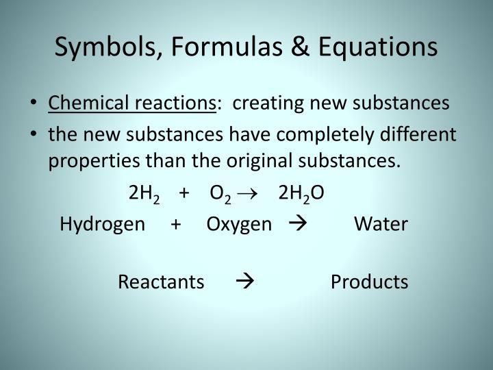 Symbols, Formulas & Equations