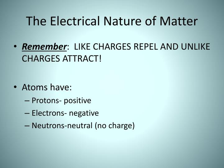 The Electrical Nature of Matter