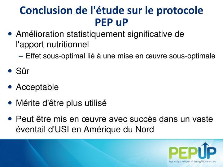 Conclusion de l'étude sur le protocole PEP