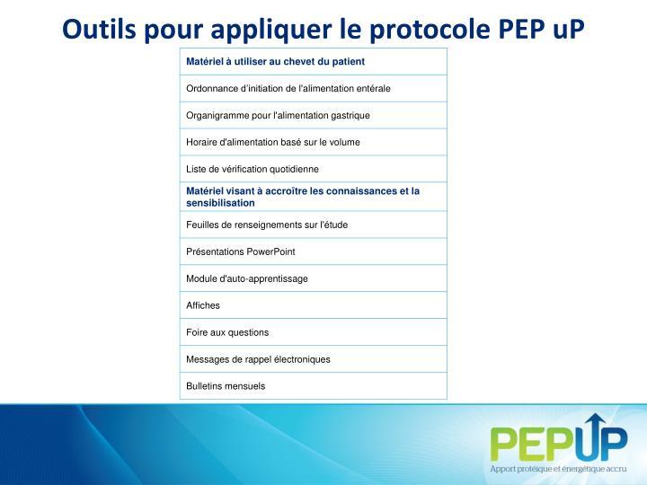 Outils pour appliquer le protocole PEPuP