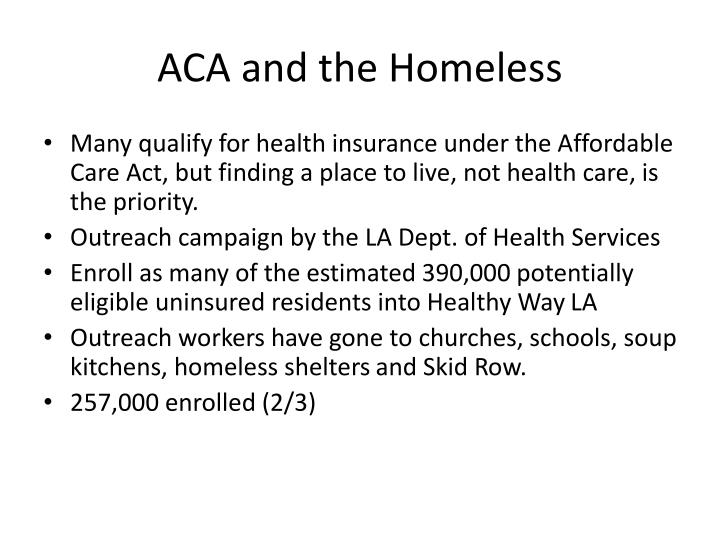 ACA and the Homeless