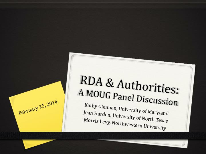 rda authorities a moug panel discussion n.