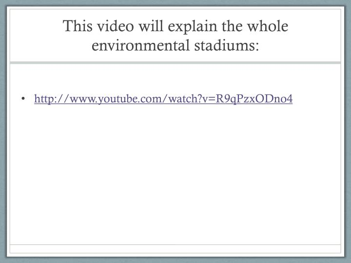 This video will explain the whole environmental stadiums: