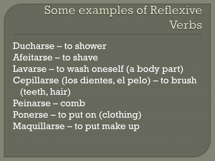 Some examples of Reflexive Verbs