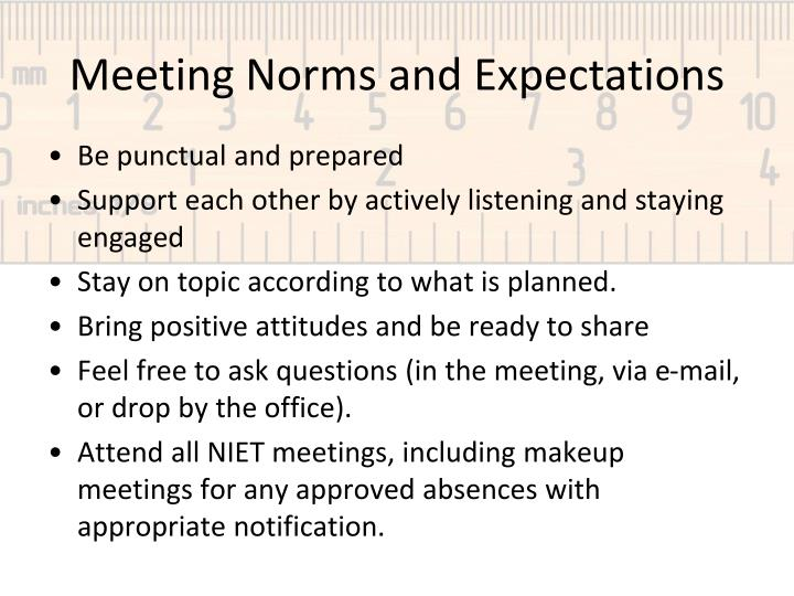 meeting norms and expectations n.