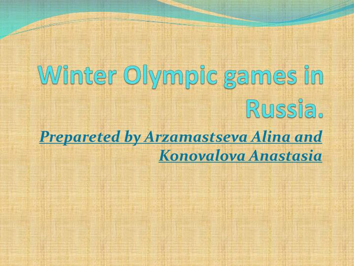 Winter olympic games in russia
