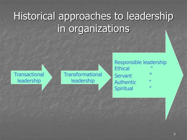 Historical approaches to leadership in organizations
