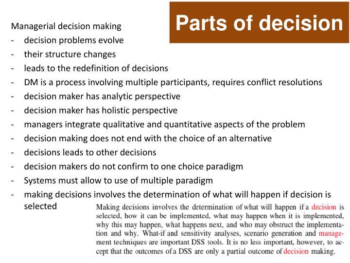 Parts of decision