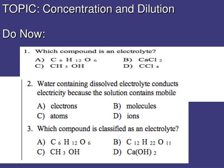 topic concentration and dilution do now n.