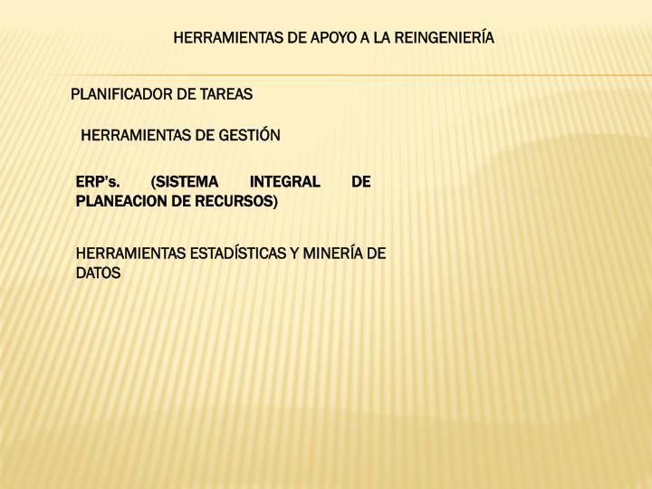 HERRAMIENTAS DE APOYO A LA REINGENIERÍA