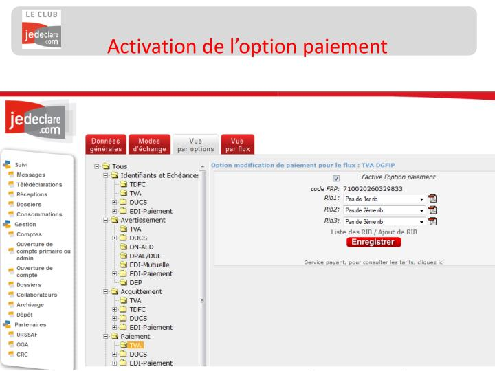 Activation de l'option paiement