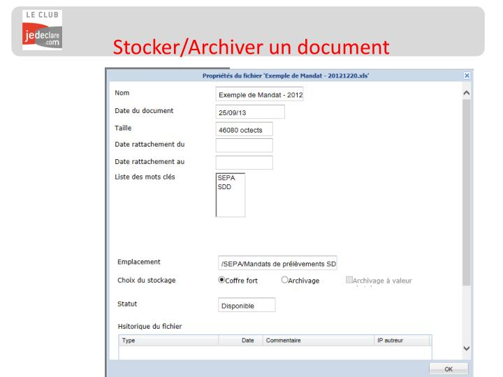 Stocker/Archiver un document